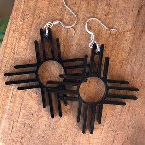 """Zia Symbol  Black 2"""" Earrings"""